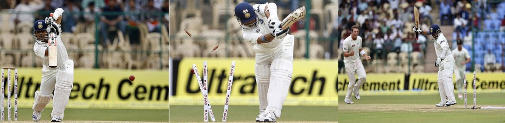 Tendulkar straight drive and two bowleds